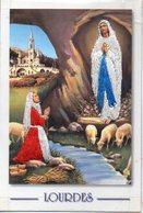 Carte Brodée Costume Folklorique - LOURDES. Grotte, Moutons - TBE - Embroidered