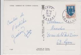 ARDECHE ENV 1968 LUSSAS RECETTE DISTRIBUTION  ( 561 HABITANTS EN 1968 ) - Marcofilia (sobres)