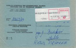 Prizren (ehem. Serbien) - Kosovokrieg - Kuvert Für Gerichtsakte Der Republik Jugoslawien 1989 - Kosovo