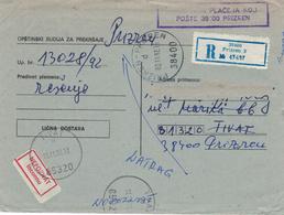 Prizren (ehem. Serbien) - Kosovokrieg - Kuvert Für Gerichtsakte Der Republik Jugoslawien 1992 Nach Tivat Unbekannt - Kosovo