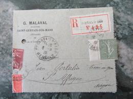 """50c Semeuse Sur Envoi Recommande """"G Malaval """" St Gervais Sur Mare Herault 1926 - Marcophilie (Lettres)"""