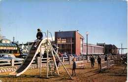 Cpsm Petit Format CAYEUX Sur MER (Somme) Jardin D'enfants Et Vue Sur Le Casino Camion Pub Vins Du Postillon Colorisé  RV - Cayeux Sur Mer