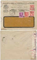TARIF ENV 1941 BORDEAUX FONDAUDEGE GIRONDE IRIS MERCURE + CENSURE => STRASBOURG ALSACE BAS RHIN - Marcophilie (Lettres)