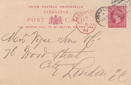 Gibraltar Entier Postal Pour La Grande Bretagne 1894 - Gibraltar