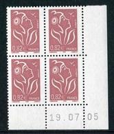 """Bloc De 4 Timbres** Gommés De 2005 """"0,82€ - Type Marianne De Lamouche - Type (I) ITVF"""" Avec Date 19 . 07 . 05 - Dated Corners"""