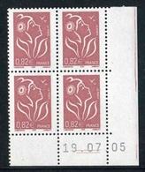 """Bloc De 4 Timbres** Gommés De 2005 """"0,82€ - Type Marianne De Lamouche - Type (I) ITVF"""" Avec Date 19 . 07 . 05 (2 Traits) - Dated Corners"""