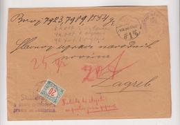 CROATIA HUNGARY 1916 OSIJEK Cover To ZAGREB Postage Due - Croatia