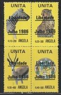 ANGOLA - UNITA  Surcharge : Liberdade Julho 1986 - Animaux - - Angola