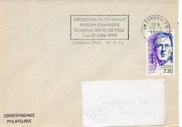 CAMBRAI (NORD) : GENERAL DE GAULLE FLAMME Tempraire 1990 Timbre CONCORDANT - De Gaulle (General)