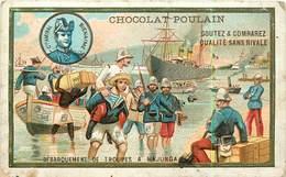 CHROMOS - CHOCOLAT POULIN -DEBARQUEMENT DE TROUPES A MAJUNGA -CARTE GAUFRE - Documentos Antiguos