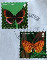 142. MONTSERRAT (02DIFF) USED STAMP BUTTERFLY ON PAPER - Montserrat