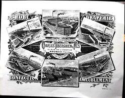 59 ROUBAIX CONFECTION ROBE CHARLES TIBERGHIEN 13 RUE DE L'HOSPICE  PUBLICITE TRES BEAU PAPIER LITHOGRAPHIE  VERS 1914 - Roubaix