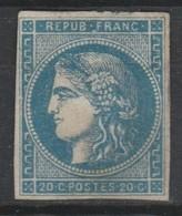 Emission De Bordeaux N° 45Ba 20c Bleu Foncé Type II Report II 1870 - 1870 Emisión De Bordeaux