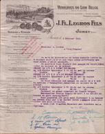 BELGIQUE - JUMET - VERRERIES DU LION BELGE , VERRES , TUBES , BAGUETTES , VITRAUX - J. FL. LEGROS FILS - LETTRE - 1920 - 1900 – 1949