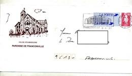Pap  Briat  Flamme Franconville  Illustré Eglise - Entiers Postaux
