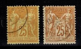Sage Type II - YV 92 & 92a Les Deux Teintes , Pas Amincis , TTB Cote 12 Euros - 1876-1898 Sage (Type II)