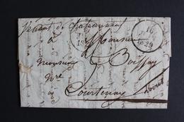 1829 LAC CHATEAUNEUF/LOIRE CAD ROND DU 16/06/1829 POUR COURTENAY CAD ARRIVE DU 17/06/1829 TAXE MANUSCRITE. - 1801-1848: Précurseurs XIX