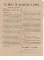 544  PROGRAMME POLITIQUE CANTON LECTOURE GERS  ST CLAR 32 DELPECH CANTALOUP  CONSEILLER GÉNÉRAL - Programs