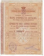 542  CERTIFICAT  BANC ÉPREUVE DES ARMES A FEU ET MUNITIONS  FUSIL CALIBRE 16 MANUFACTURE ST ETIENNE - Dokumente