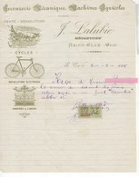 541  32 FACTURE REÇU  LALUBIE MÉCANICIEN SAINT CLAR GERS Reçu Pour Un Fusil Hammerless  Cycles, Vélo, Agriculture - Frankreich