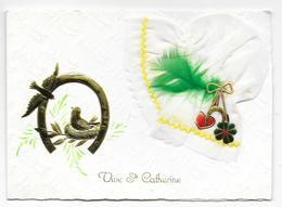 Cpsm: Vive Sainte Catherine - Carte Double (Bonnet Tissu, Plume, Coeur, Trèfle, Fer à Cheval, Oiseaux) - Sainte-Catherine
