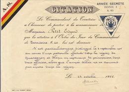 Militaria - Diplôme Citation Armée Secrète - Dokumente
