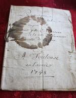TOULOUSE 1748 MANUSCRIT PANÉGYRIQUE RELIGIEUX DE SAINT MICHEL COMPOSE PAR J.B M**** VILLE DU F*** DIOCÈSE DE R*** - Manuscritos