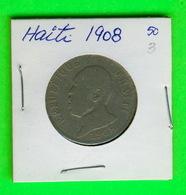 MONNAIES, HAITI - 1908 - 50 CENTIMES - - Haiti