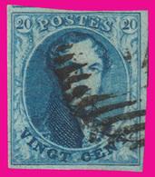 COB N° 7 - Margé Des 4 Côtés Avec 1 Voisin Au Dessus - Papier Epais - Oblitération à Barres - 1851-1857 Medallions (6/8)