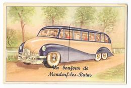 Cpa: LUXEMBOURG - Un Bonjour De MONDORF LES BAINS (Carte Système 10 Minivues, Autocar) Rare - Mondorf-les-Bains