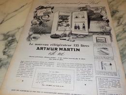 ANCIENNE  PUBLICITE REFRIGIRATEUR  AVEC ARTHUR MARTIN 1956 - Publicidad
