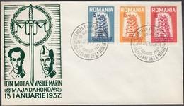 Romania - Exil, EUROPA Stamps, Ion Mota & Vasile Marin, MAJADAHONDA 13.01.1957. - Maximumkarten (MC)