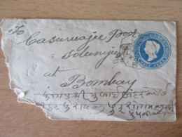 Inde - Entier Postal Victoria Half Anna - Bungalore Vers Bombay - Non-daté (vers 1890) - India (...-1947)