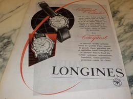 ANCIENNE PUBLICITE  CONQUEST CALENDAR MONTRE LONGINES  1956 - Jewels & Clocks