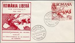 Romania - Exil, EUROPA Stamps, 'LIBERTATE ROMANIEI'. Madrid 8 Noiembrie 1958. - Maximumkarten (MC)
