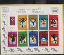 JO72-H/L10 - COREE DU NORD  Bloc-feuillet Obl. Jeux Olympiques D'Hiver Sapporo 1972 - Corée Du Nord