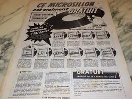 ANCIENNE  PUBLICITE MICROSILLON GRATUIT  1956 - Música & Instrumentos