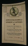 Rare Ancien Diplôme Certificat Admission Solennelle Et Serment De L'Apprenti SNCF Matériel Traction 1948 Langeac - Diploma's En Schoolrapporten