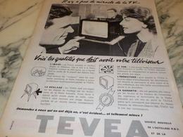 ANCIENNE PUBLICITE QUALITE TELEVISION TEVEA  1956 - Television