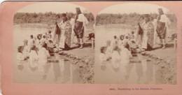 STEREO PHOTO  KILBURN YEAR 1899 / PALESTINE / BAPTIZING IN THE JORDAN / RARE - Palestine