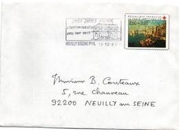 Croix-rouge Toulon 1991 - Découpe D'entier Ou De Prospectus Collé à Neuilly Sur Enveloppe - Saint-James - Marcofilia (sobres)
