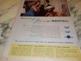 ANCIENNE PUBLICITE  POUR LES FETES COGNAC MARTELL 1956 - Alcools