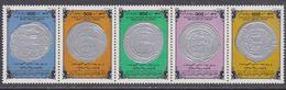 Libye N° 1296 / 1300 XX Monnaies Anciennes Islamiques Arabes, Les 5 Valeurs Se Tenant Sans Charnière, TB - Libyen