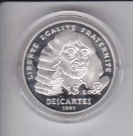 MONEDA DE PLATA DE FRANCIA DE 15 ECUS DEL AÑO 1991 CONMEMORATIVA A DESCARTES CON ESTUCHE ORIGINAL - France