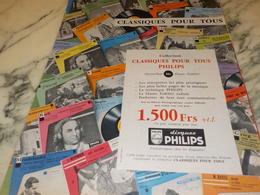 ANCIENNE  PUBLICITE CLASSIQUES POUR TOUS  DE PHILIPS  1956 - Música & Instrumentos