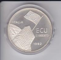 MONEDA DE PLATA DE ITALIA DE ECU DEL AÑO 1992 CONMEMORATIVA CEE CON ESTUCHE ORIGINAL Y CERTIFICADO - 1946-… : Repubblica
