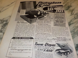 ANCIENNE PUBLICITE  ELECTROPHONE   1956 - Other