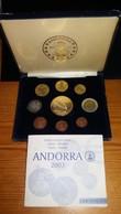 JUEGO COMPLETO 9 MONEDAS DE PRUEBA DE EUROS DE ANDORRA FABRICADAS POR LA INA, SOLO 14000 UNIDADES - Andorra