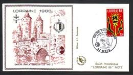 FDC BLOC CNEP N° 9 - 09 SUR ENVELOPPE SALON PHILATELIQUE DE METZ  LORRAINE 1988 OBLI DU 4 MAI 1988 CROIX DE LORRAINE - CNEP
