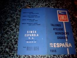 Espagne Publicité Dépliant Automobiles Simca Espagnola S.A.Madrid  Liste Des Garages Et Ateliers De Réparation En 1965 - Autres
